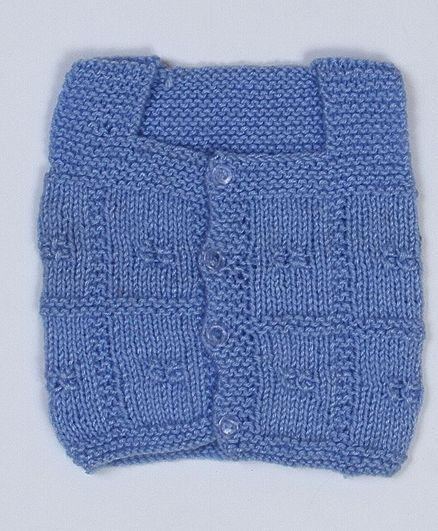 USHA ENTERPRISES Sleeveless Hand Knitted Checked Pattern Vest - Blue