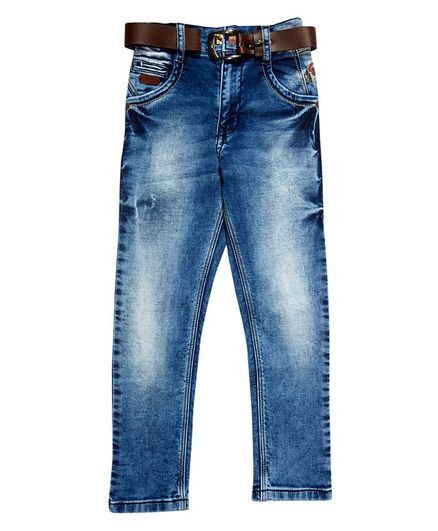 LEO Back Elastic Full Length Jeans - Blue