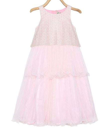 Rianna Sleeveless Embroidered Layered Gown - Light Pink