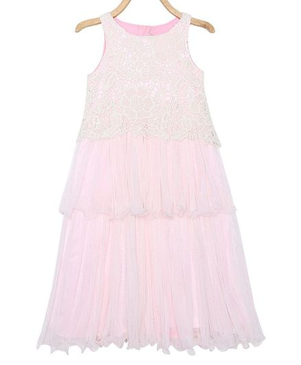 Rianna Sleeveless Layered Embroidered Gown - Pink