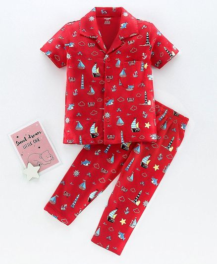 Cucumber Half Sleeves Night Suit Boat Print - Red