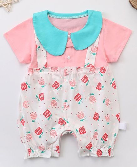 Kookie Kids Half Sleeves Romper Flower Print - Pink