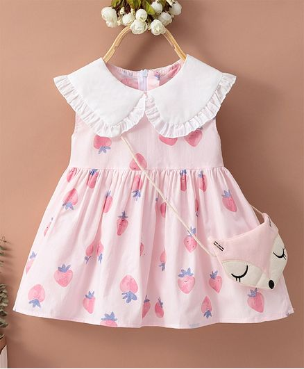 Kookie Kids Sleeveless Frock with Sling Strawberry Print - Pink