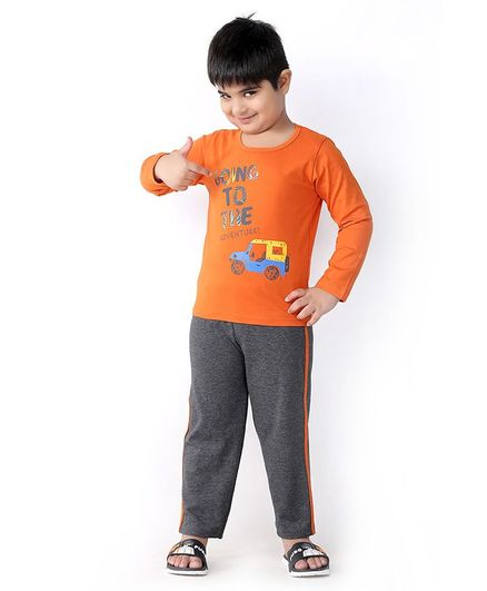 Soft Touche Going Print Full Sleeves Tee With Pajama - Orange