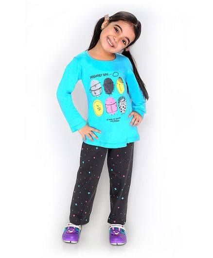 Soft Touche Imaginary Day Print Full Sleeves Tee With Pajama - Blue