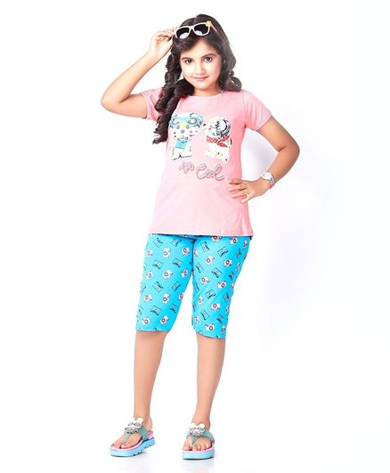 Soft Touche Puppy Print Half Sleeves Tee With Shorts - Pink Blue