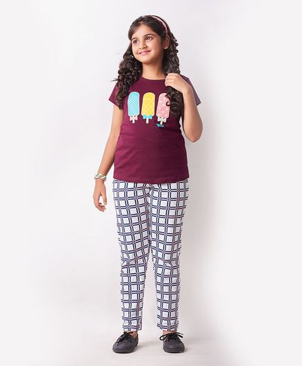 Soft Touche Ice Cream Print Half Sleeves Tee With Pajama - Maroon