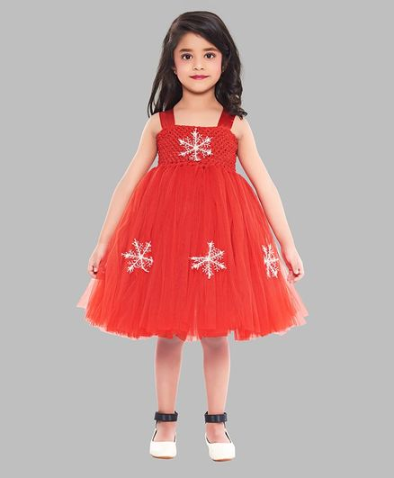 Pink Chick Sleeveless Snow Flake Design Fit & Flare Dress - Red