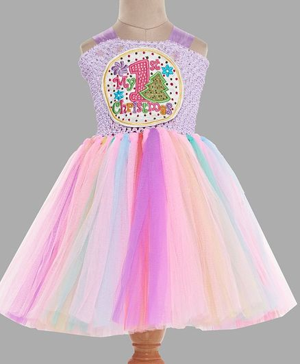 Pink Chick My First Christmas Embellished Sleeveless Dress - Purple