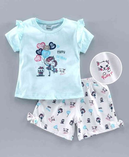 Cucumber Half Sleeves Tee & Shorts Birthday Print - Blue