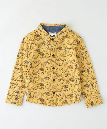 Angel & Rocket Full Sleeves Dinosaur Print Shirt - Yellow