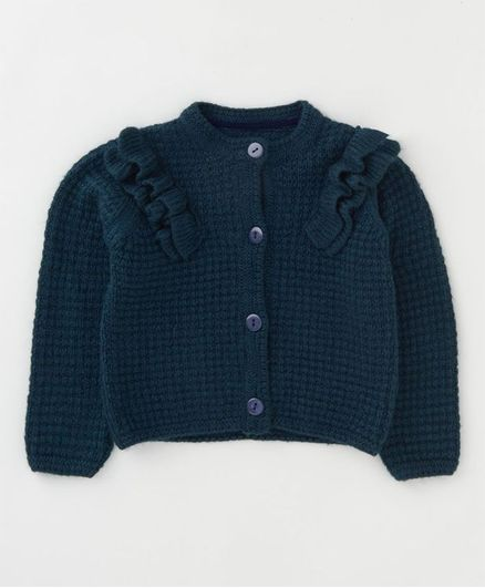 Angel & Rocket Full Sleeves Frill Cardigan - Navy Blue
