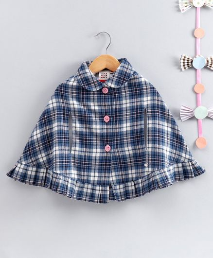 Ed-a-Mamma Ruffle Detailing Full Sleeves Checkered Poncho - Blue