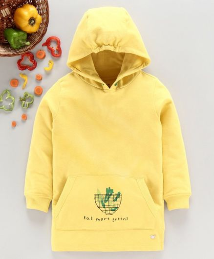 Ed-a-Mamma Full Sleeves Print Detailing Hoodie - Yellow