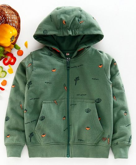 Ed-A-Mamma Full Sleeves Carrot Printed Hooded Jacket - Green
