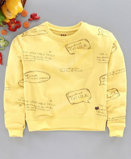Ed-a-Mamma Full Sleeves All Over Text Print Detailing Sweatshirt - Yellow