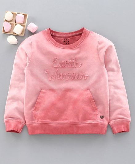 Ed-A-Mamma Full Sleeves Earth Warrior Embroidered Sweatshirt - Pink
