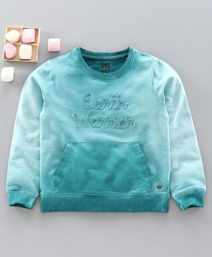 Ed-A-Mamma Full Sleeves Earth Warrior Embroidered Sweatshirt - Light Blue