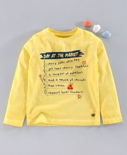 Ed-A-Mamma Full Sleeves Checklist Printed Tee - Yellow