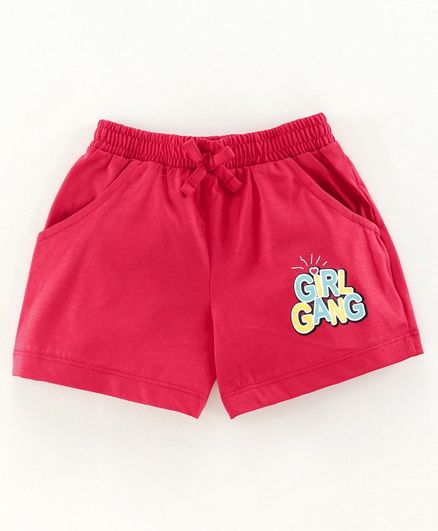 Cucu Fun Shorts Girl Gang Print - Red