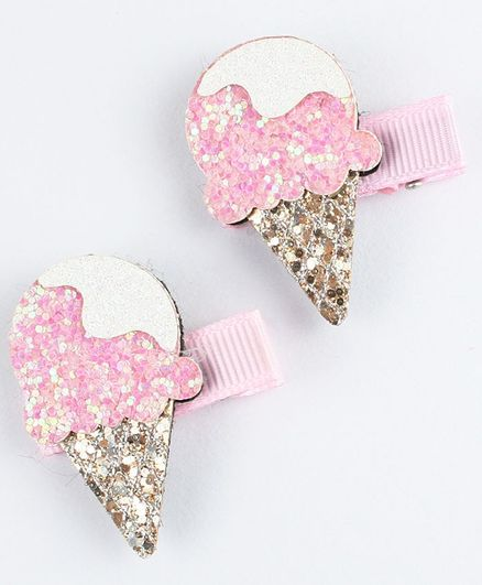 Asthetika Set Of 2 Ice Cream Design Glitter Hair Clips - Pink