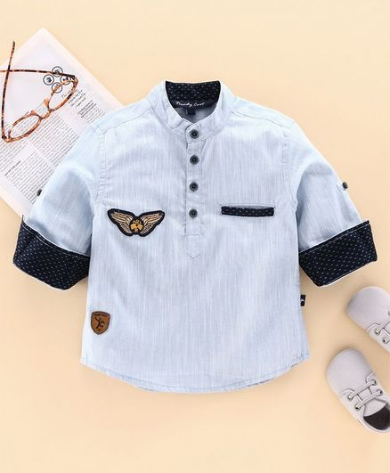 Trendy Cart Full Sleeves Logo Patch Shirt - Light Blue