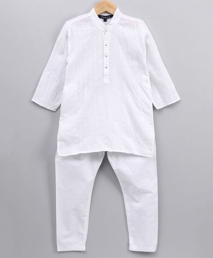 Trendy Cart Full Sleeves Solid Kurta With Pajama - White