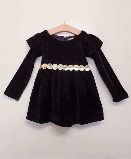 My Pink Closet Full Sleeves Circle Sequined Design Velvet Dress - Black