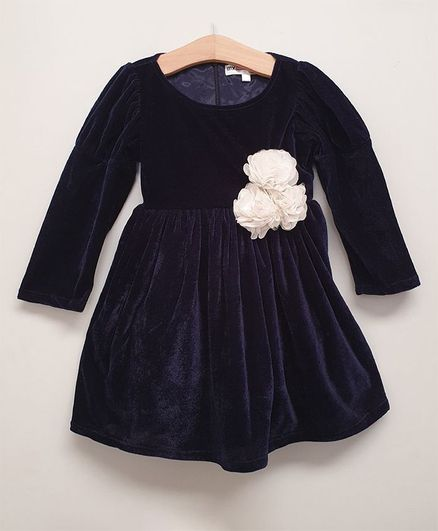 My Pink Closet Full Sleeves Flower Detailed Dress - Navy Blue