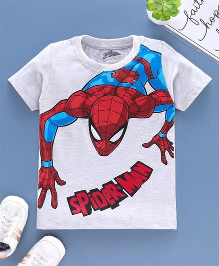 Babyhug Half Sleeves Biowashed Tee Spider Man Print - Grey