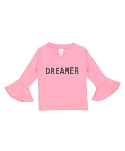 whaou Full Sleeves Dreamer Print Top - Pink