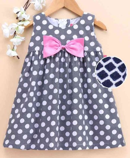 Twetoon Sleeveless Knee Length Frock Polka Dot Print - Navy lue