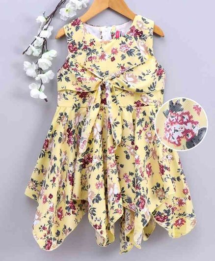 Twetoons Sleeveless Front Tie Knot Closure Frock Floral Print - Yellow