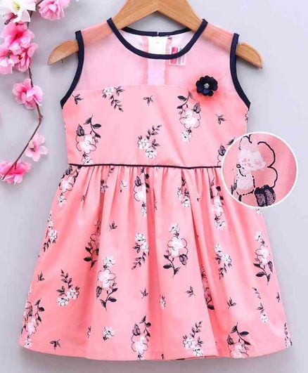 Twetoons Sleeveless Frock Floral Print - Peach