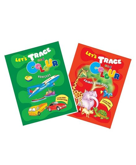 Sterling Let's Trace and Colour Animals & Birds & Vehicles Pack of 2 - English