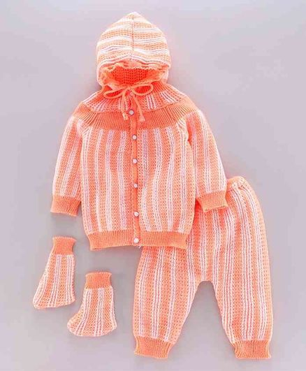 Babyhug Full Sleeves Hooded Sweater Set with Booties - Peach