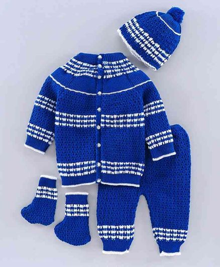 Babyhug Full Sleeves Sweater Set with Cap & Booties - Blue