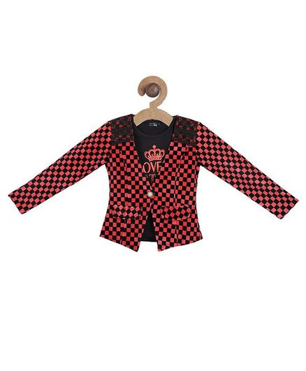 Actuel Full Sleeves Checked Lace Embellished Jacket With Printed T-Shirt - Red Black