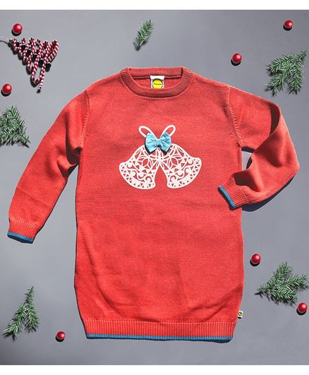 Pranava Full Sleeves Jingle Bells Print Sweater - Red