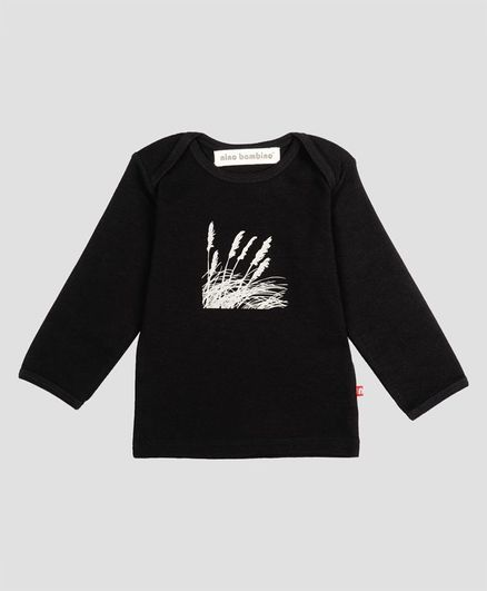 Nino Bambino Full Sleeves Printed Organic Cotton Tee - Black