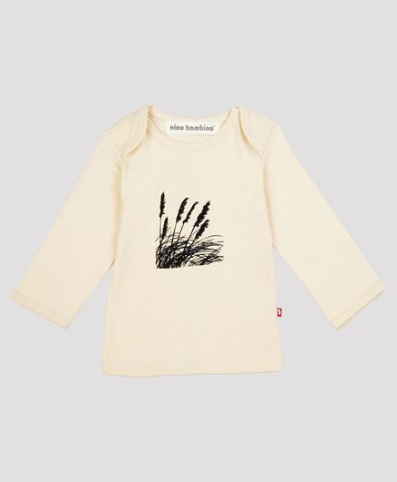 Nino Bambino Full Sleeves Printed Organic Cotton Tee - Off White