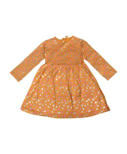 Crazy Penguin Full Sleeves Floral Print Dress - Brown