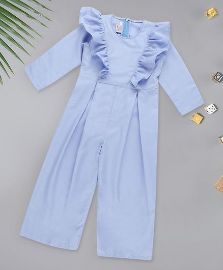 oui oui Full Sleeves Front Frilled Jumpsuit - Blue