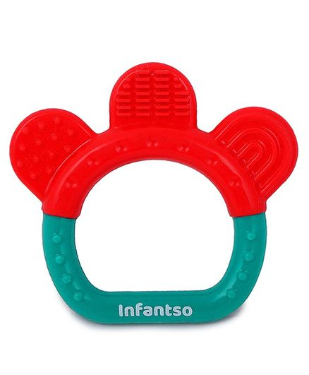 INFANTSO Non-Toxic Food-Grade Silicone Baby Ring Shape Teether - Red Green