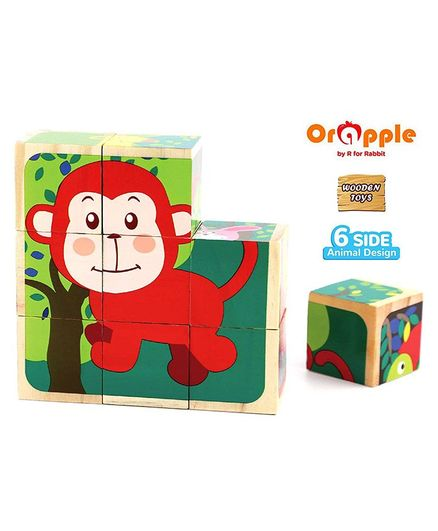 Orapple by R for Rabbit Monkey Wooden Block Puzzle - 9 Pieces