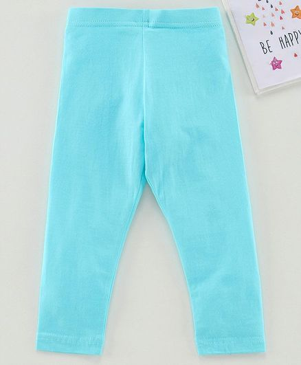 Babyhug Ankle Length Solid Leggings - Blue