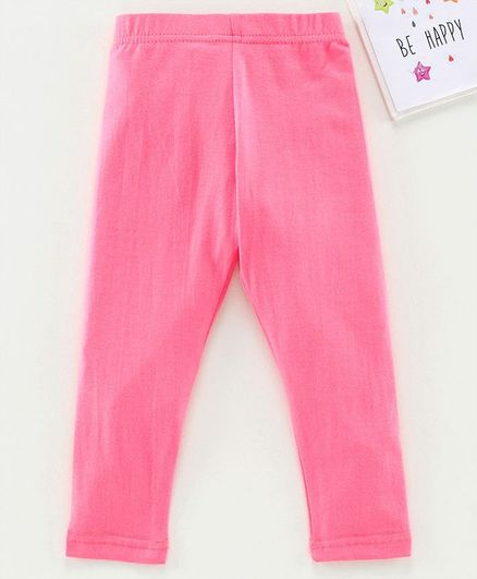 Babyhug Ankle Length Solid Leggings - Pink