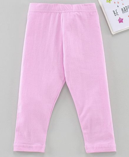 Babyhug Ankle Length Solid Leggings - Light Pink