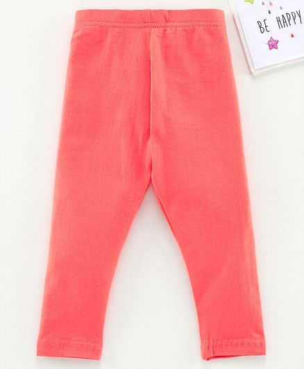 Babyhug Ankle Length Solid Leggings - Peach