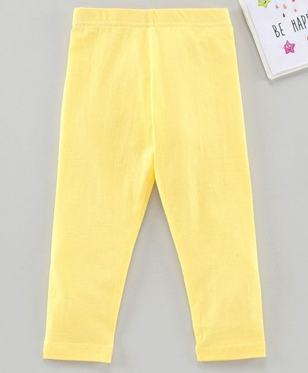 Babyhug Ankle Length Solid Leggings - Yellow